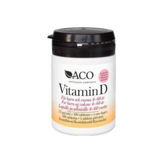 ACO Vitamin D 7,5 µg Jordgubbssmak 100 tabletter