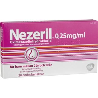 Nezeril, näsdroppar, lösning i endosbehållare 0,25 mg/ml 2 x 10 x 0,1 ml