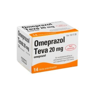 Omeprazol Teva, enterokapsel, hård 20 mg 14 st